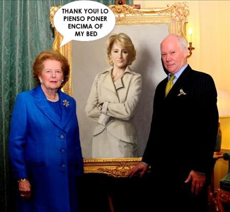 Margaret Thatcher recibe un retrato de su ídolo
